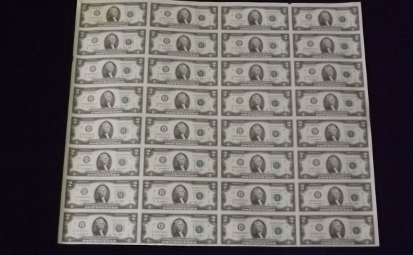 Mint Currency Uncut Sheet $2
